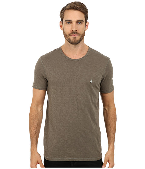 John Varvatos Star U.S.A. - Short Sleeve Peace Crew Knit with Vertical Pickstitch Peace Sign Embroidery K2081R2B (Ivy) Men