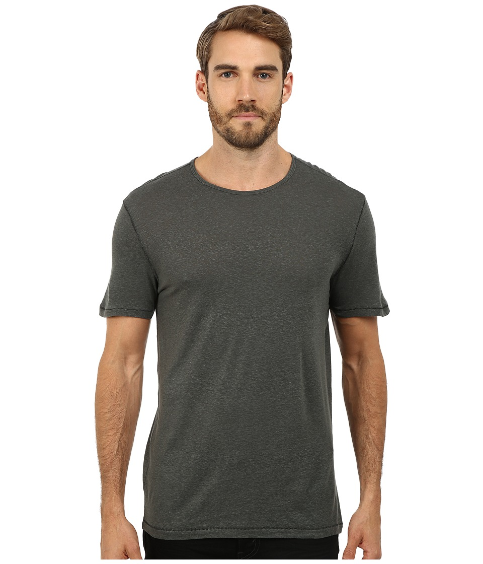 John Varvatos Star U.S.A. - Short Sleeved Crew Neck with Vertical Pickstitch Seam Details K2263R2L (Shadow) Men's Clothing