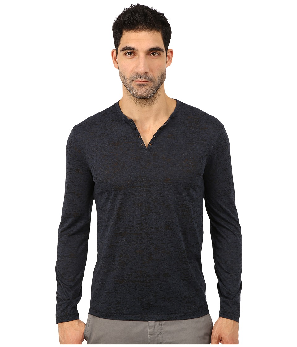 John Varvatos Star U.S.A. - Long Sleeve Knit Crew Neck with Eyelet Detail K2077R3B (Blue Heather) Men's Long Sleeve Button Up