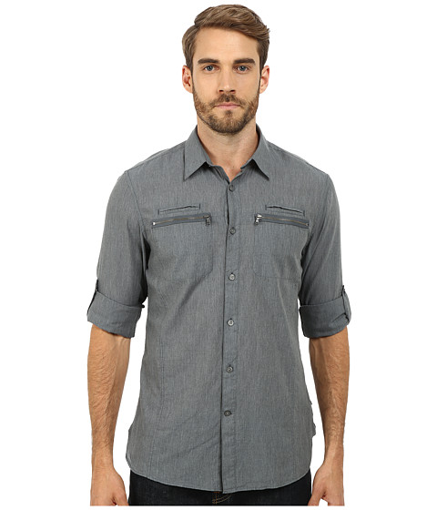 John Varvatos Star U.S.A. - Double Zipper Pocket Shirt W192R2B (Dusty Blue) Men's Clothing