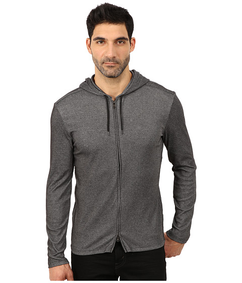 John Varvatos Star U.S.A. - Zip-Front Knit Hoodie with Reverse Self Rib Trim Details K2395R3B (Black) Men