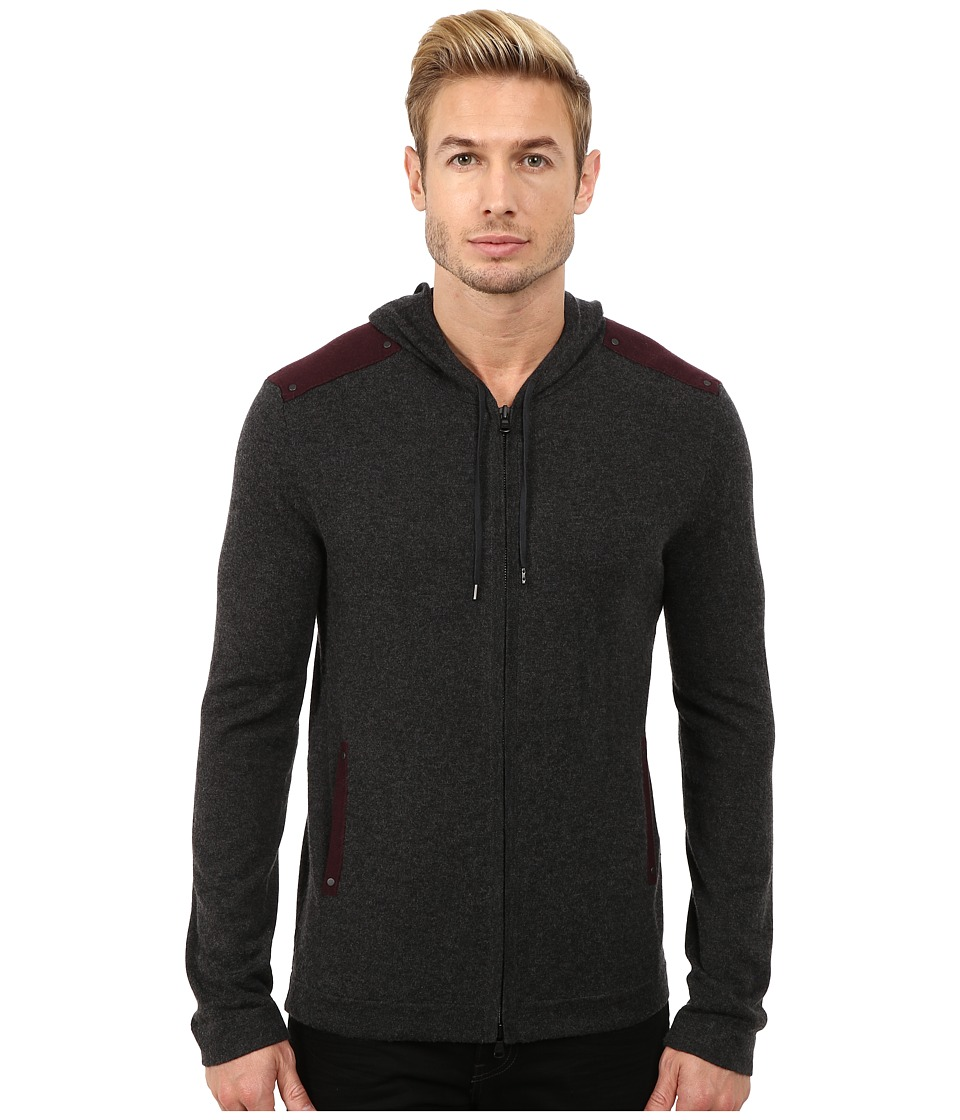 John Varvatos Star U.S.A. - Zip Front Hoodie Sweater with Tonal Rivet Patches Y1189R3B (Charcoal Heather) Men's Sweater