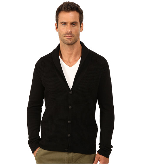 John Varvatos Star U.S.A. - Waffle Stitch Shawl Collar Cardigan Y1225R3L (Black) Men's Sweater