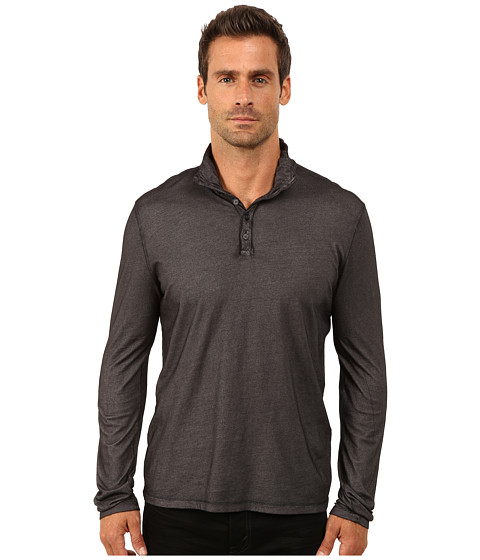 John Varvatos Star U.S.A. - Long Sleeve Knit Henley with Convertible Collar and Coverstitch Seam Details K2303R3B (Black) Men