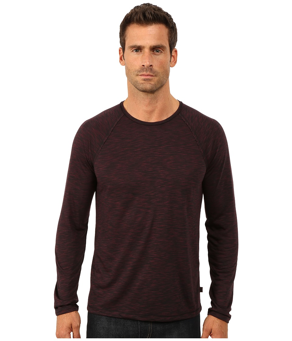John Varvatos Star U.S.A. - Long Sleeve Raglan Knit Crew Neck with Raw Cut Seams and Coverstitch Details K2411R3B (Cherrywood) Men's Long Sleeve Pullover