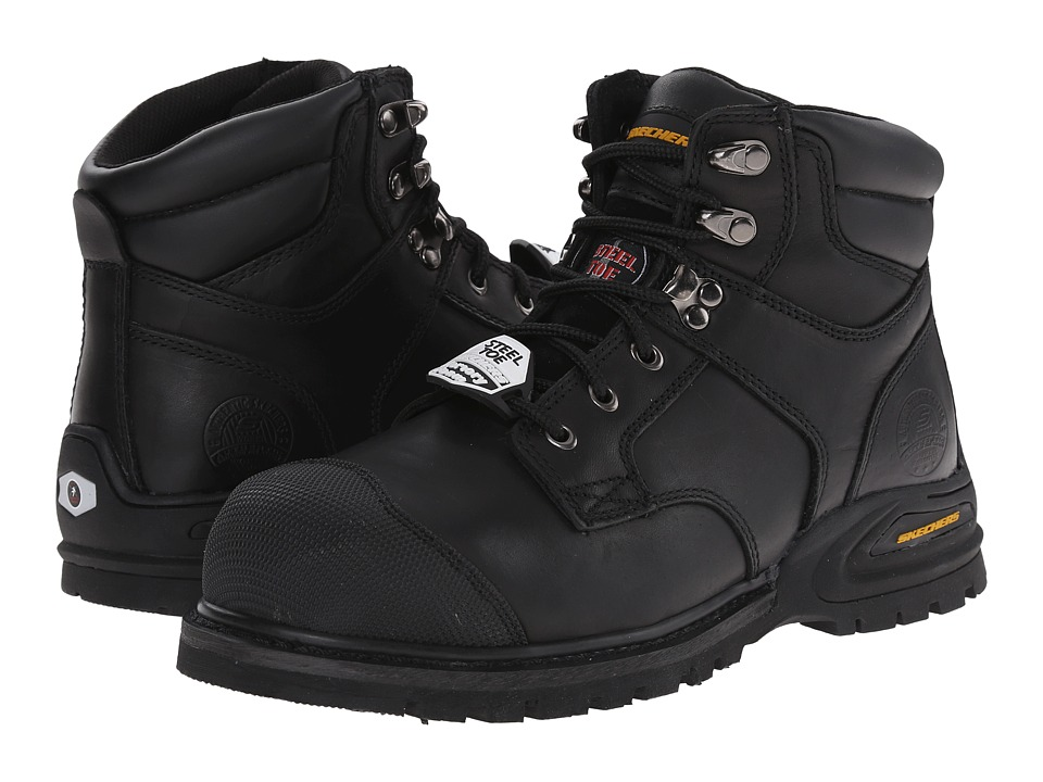SKECHERS Work - Kenner (Black Oily Leather) Men's Work Boots