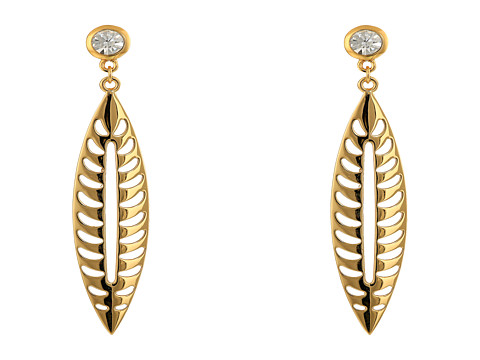 Rebecca Minkoff - Leaf Drop Earrings (Gold Toned/Crystal) Earring