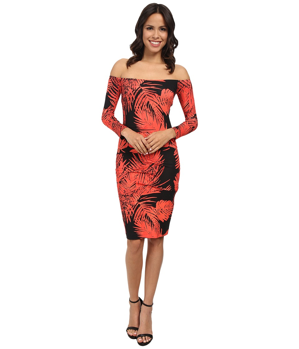 Nicole Miller - Palm Batik Off Shoulder Dress (Hot Coral/Black) Women