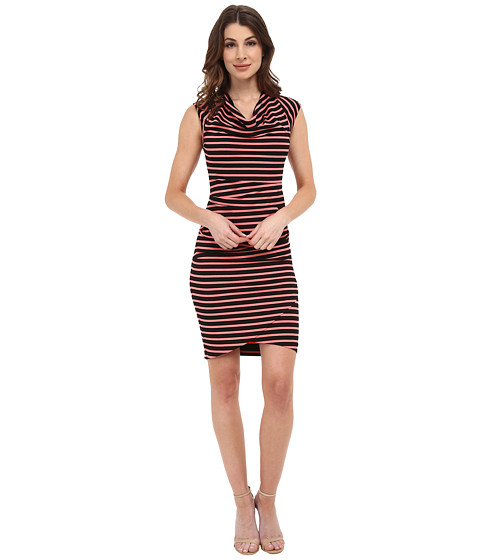 Nicole Miller - Jolly Stripe Cowl Dress (Hot Coral/Black) Women