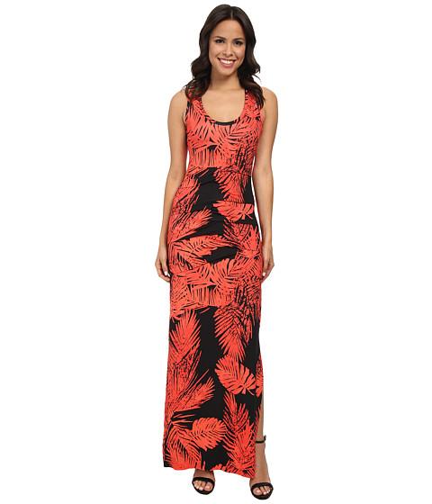 Nicole Miller - Printed Palm Batik Vanessa Maxi Dress (Hot Coral/Black) Women's Dress