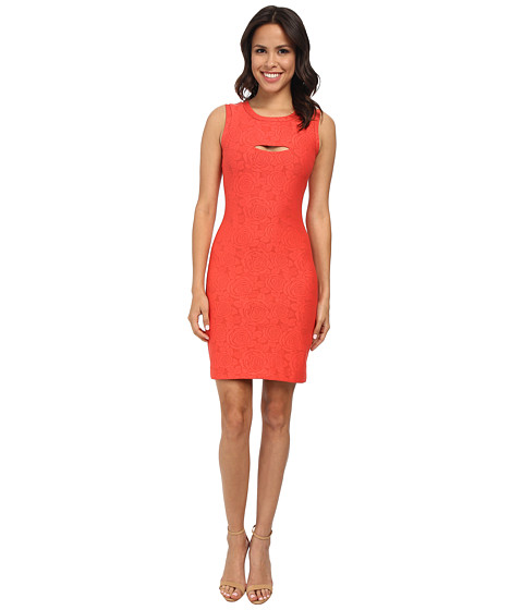 Nicole Miller - Feliz Flower Jacquard Dress (Hot Coral) Women