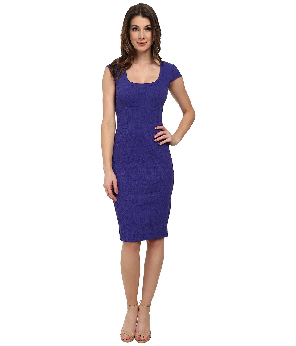Nicole Miller Embossed Knit Short Sleeve Dress (Cobalt) Women