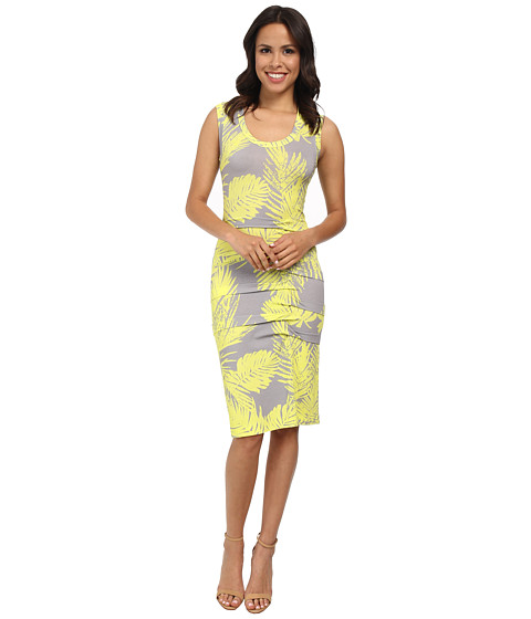 Nicole Miller - Palm Batik Asymmetrical Tidal Pleat Dress (Neon Yellow) Women's Dress