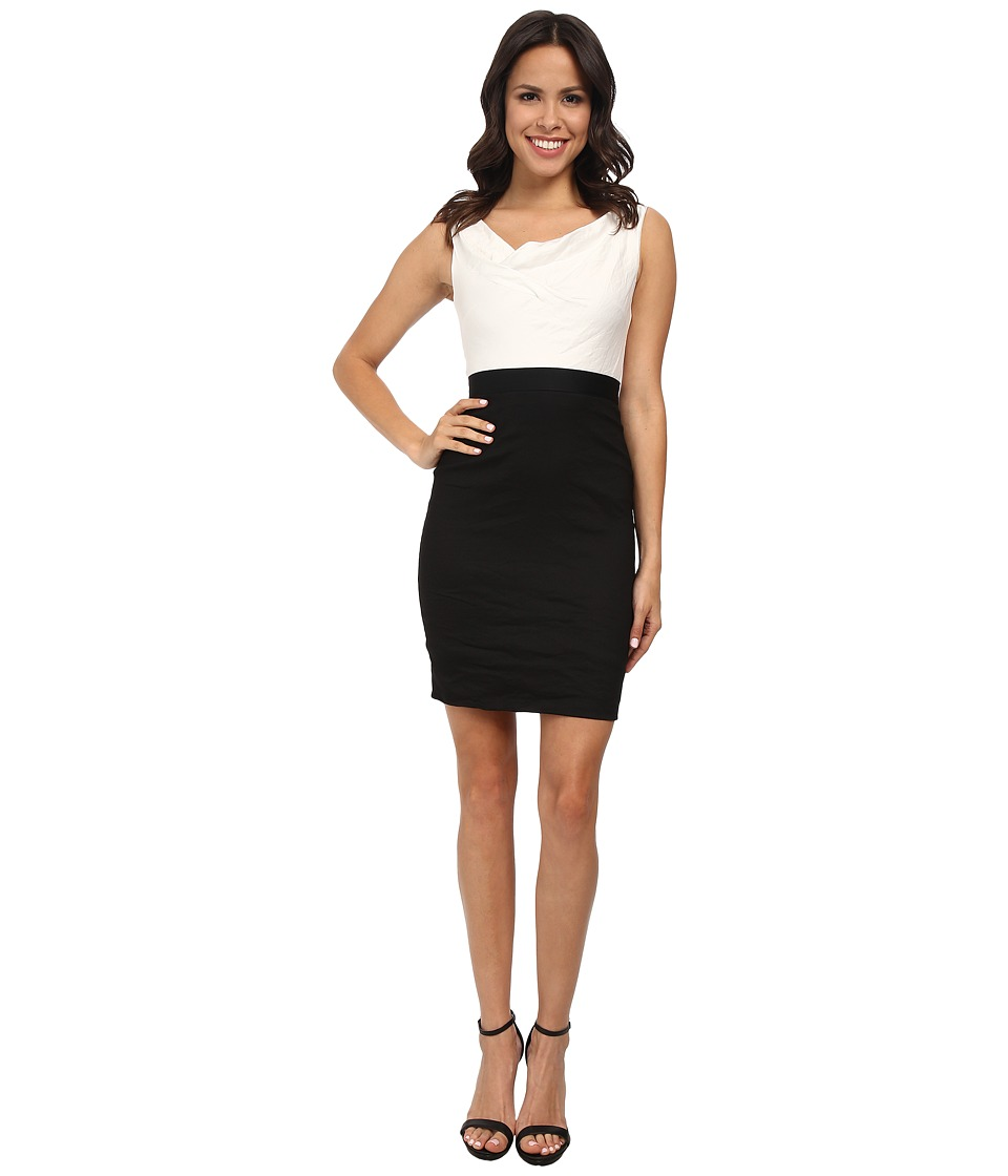 Nicole Miller Asymmetrical Cowl Two-Tone Dress (Black/White) Women