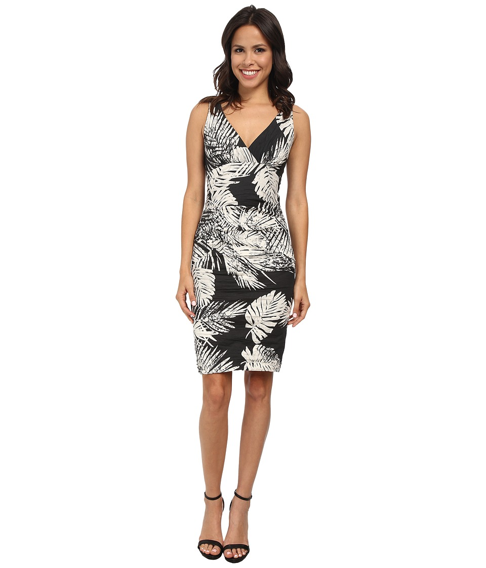 Nicole Miller Krista Palm Batik Cotton Metal Dress (Black/White) Women