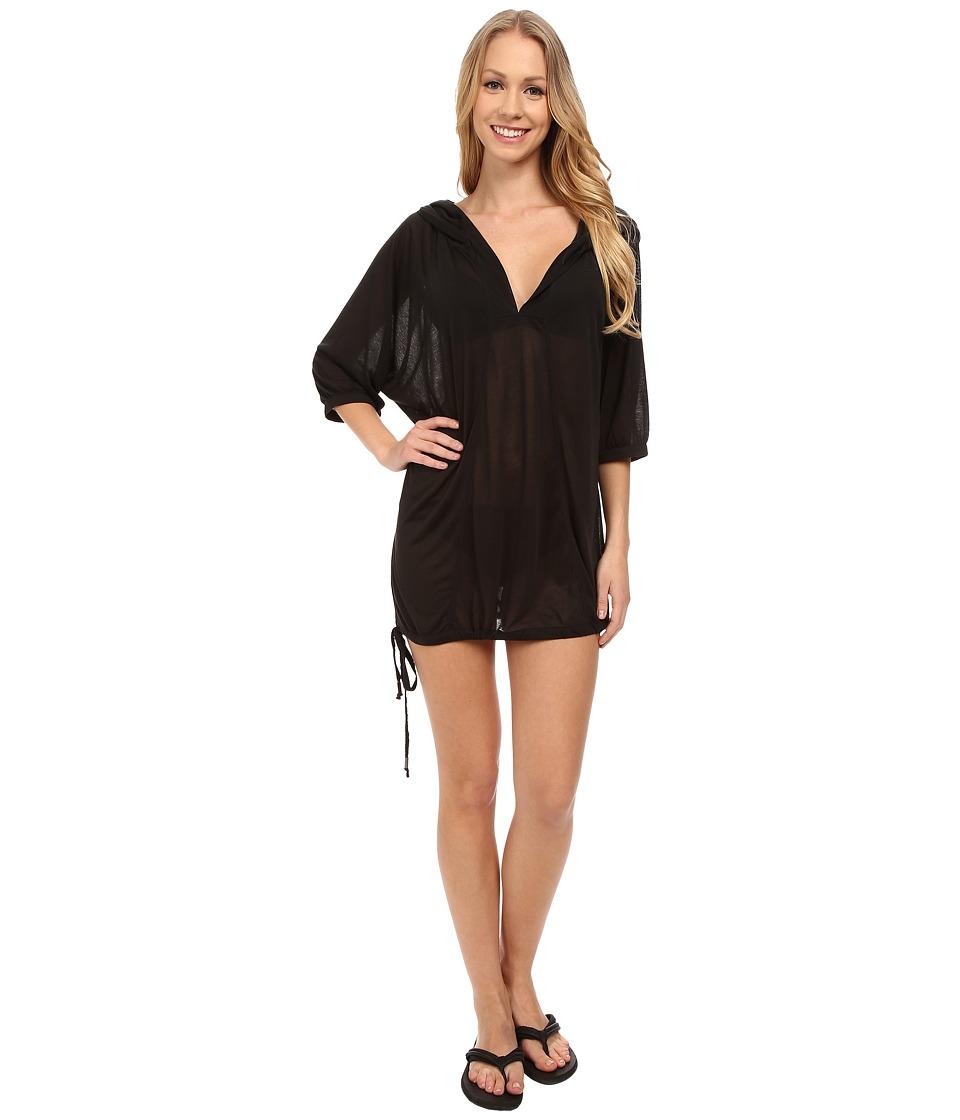 Lole - Tilda 3/4 Sleeve Hooded Top (Black) Women's Swimsuits One Piece