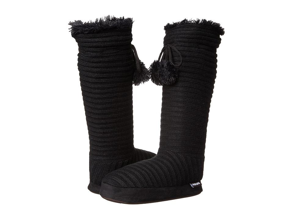 MUK LUKS - Slipper Boot w/ Poms (Black) Women