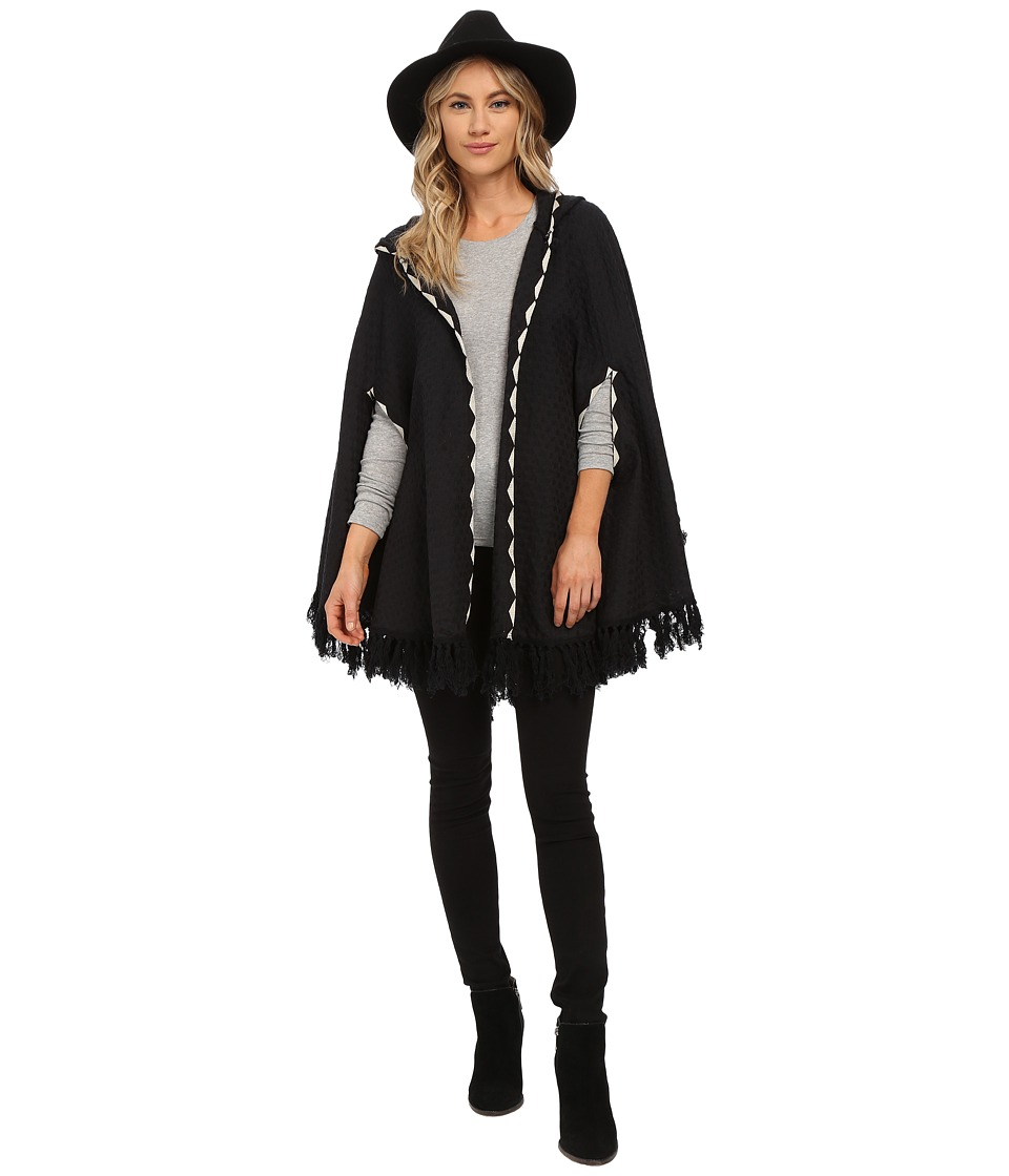 Brixton - Junie Hooded Poncho (Black) Women's Coat