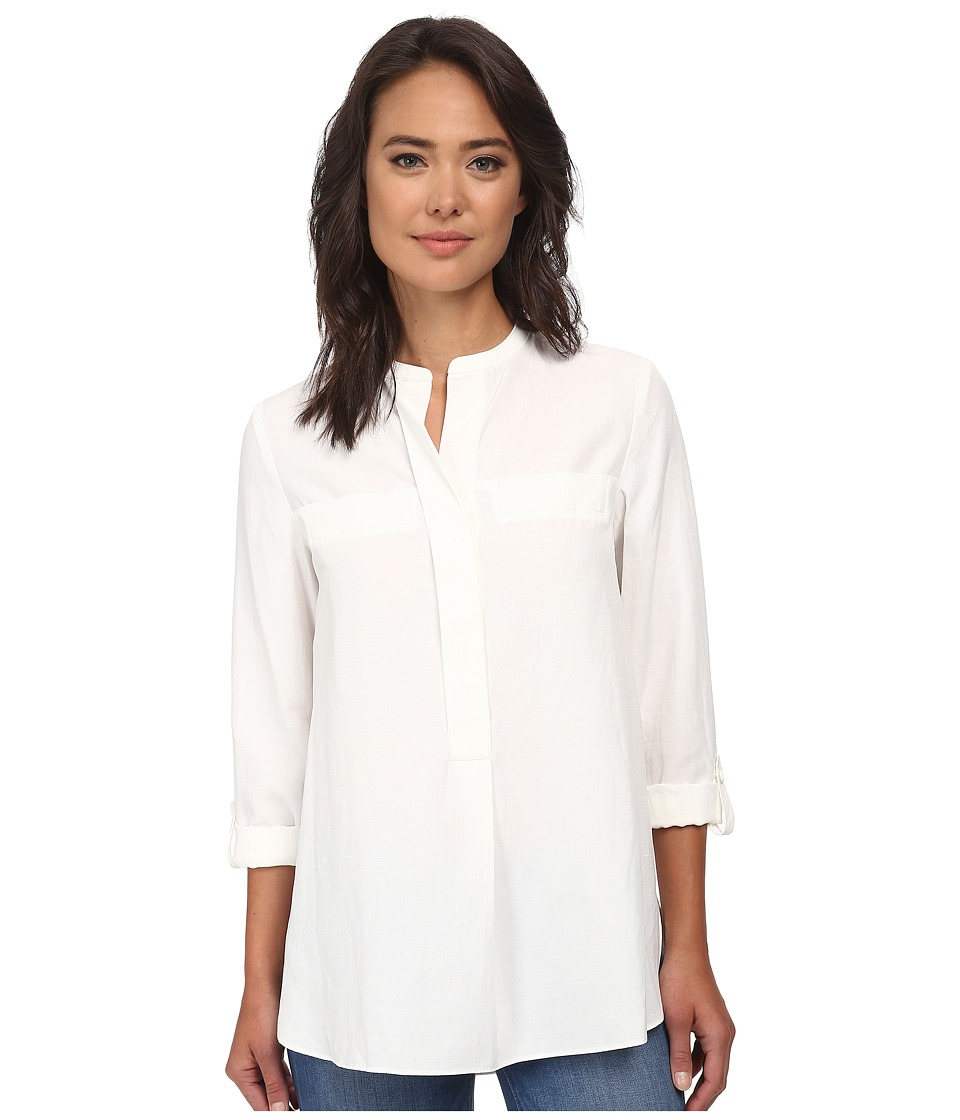 Anne Klein - Washed Linen Roll Sleeve Blouse (White) Women