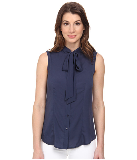 Anne Klein - Sleeveless Bow Blouse (Cadet) Women