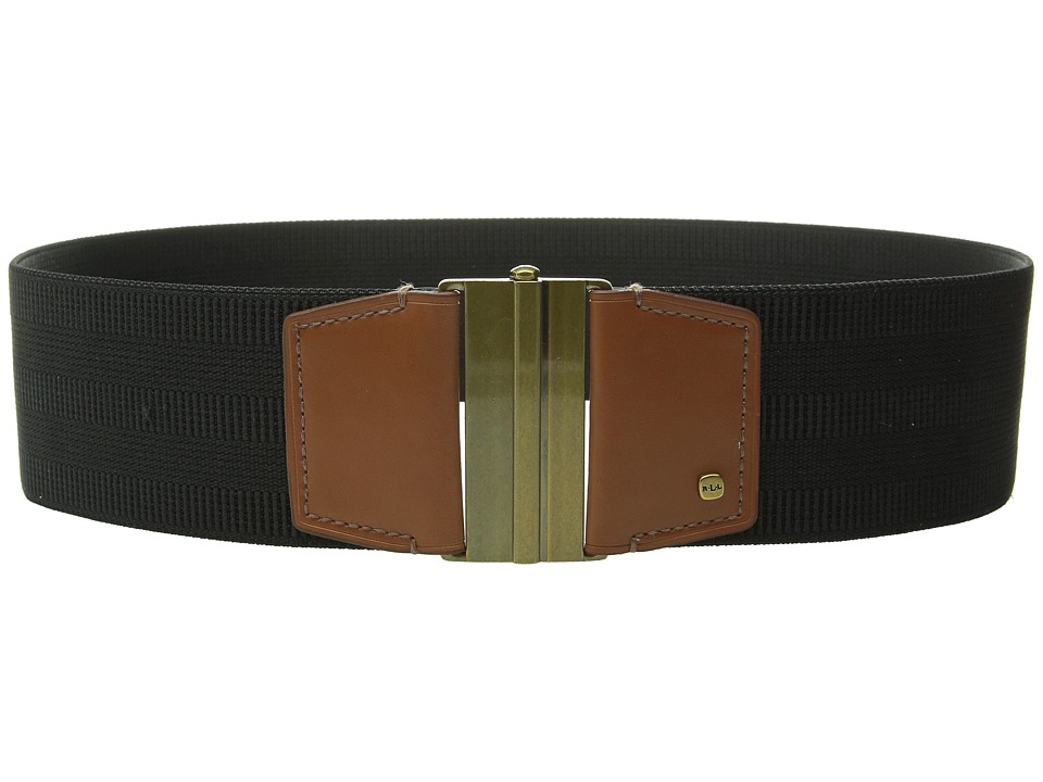 LAUREN Ralph Lauren - Stretch 2 3/8 Stretch/Smooth PU Interlock (Black/Lauren Tan) Women's Belts