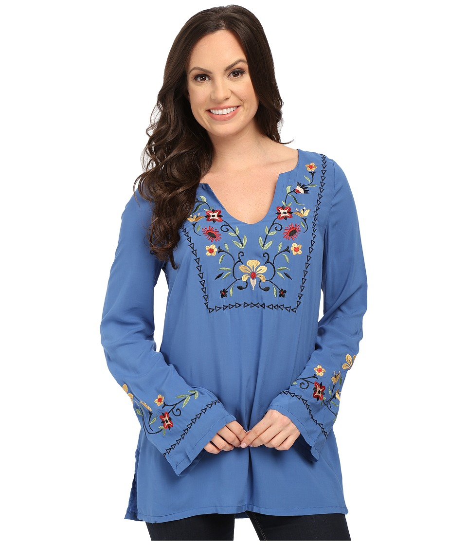 Roper - 0019 Solid Rayon Peasant Blouse (Blue) Women's Blouse