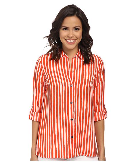 Anne Klein - Striped Roll Sleeve (Orange/White) Women's Clothing