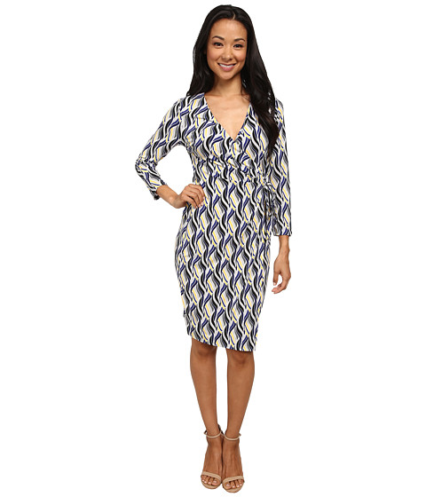 Anne Klein - Wave Print Knot Dress (Ultramarine Multi) Women's Dress