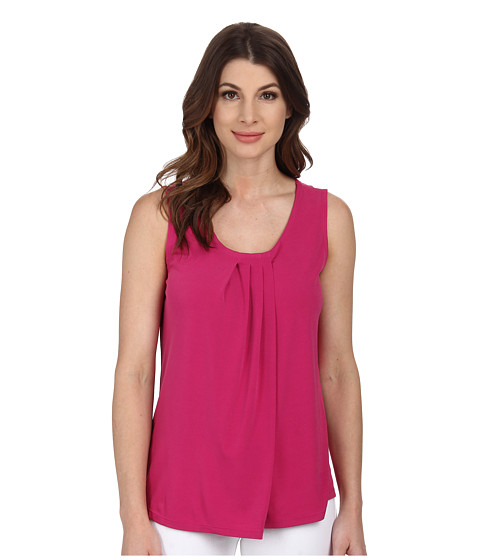 Anne Klein - Solid Pleat Neck Top (Fuchsia) Women's Clothing