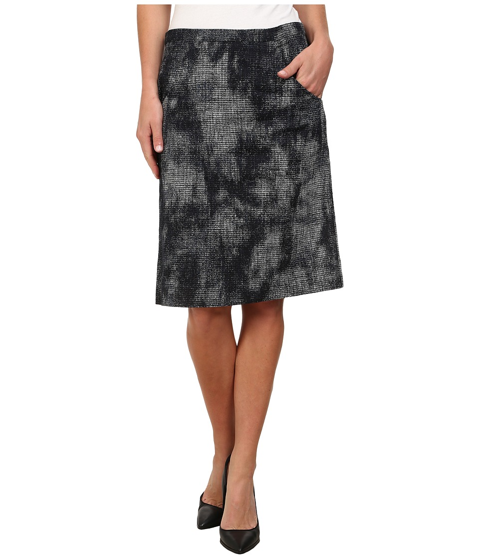 Anne Klein - Printed Menswear Skirt (Black/Ultramarine Multi) Women's Skirt
