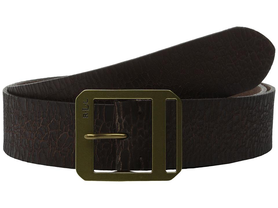 LAUREN Ralph Lauren - Jeans 1 5/8 Distressed Leather Centerbar (Brown) Women's Belts