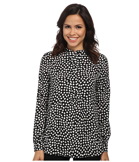 Anne Klein - Tile Print Popover Tunic (Black/White) Women's Blouse