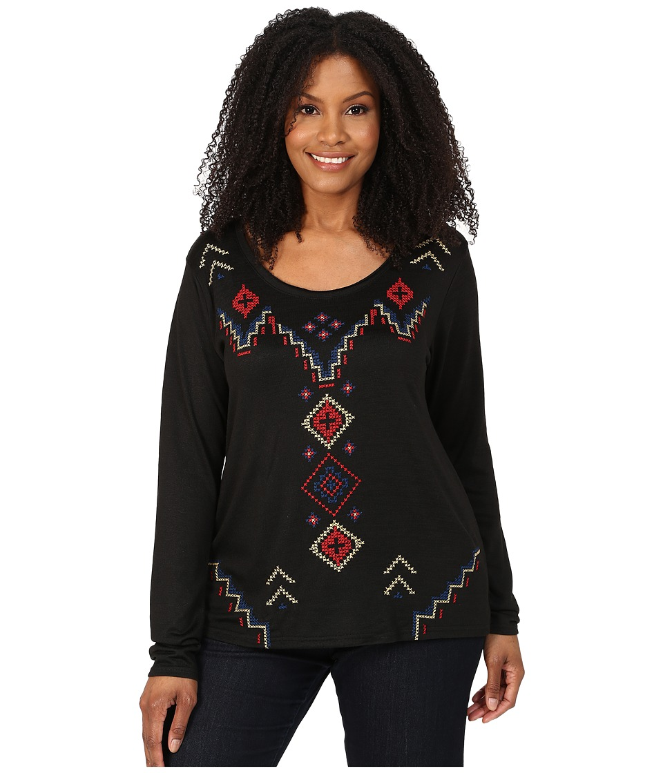Roper - Plus Size 0020 Sweater Jersey Tunic (Black) Women