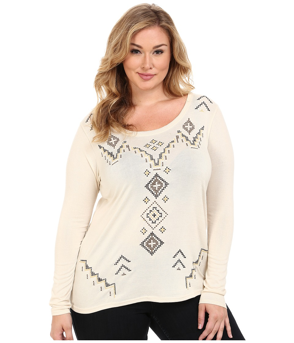 Roper - Plus Size 0020 Sweater Jersey Tunic (White) Women's Blouse