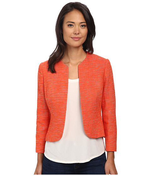 Anne Klein - Collarless Tweed Jacket (Orange/White) Women's Coat