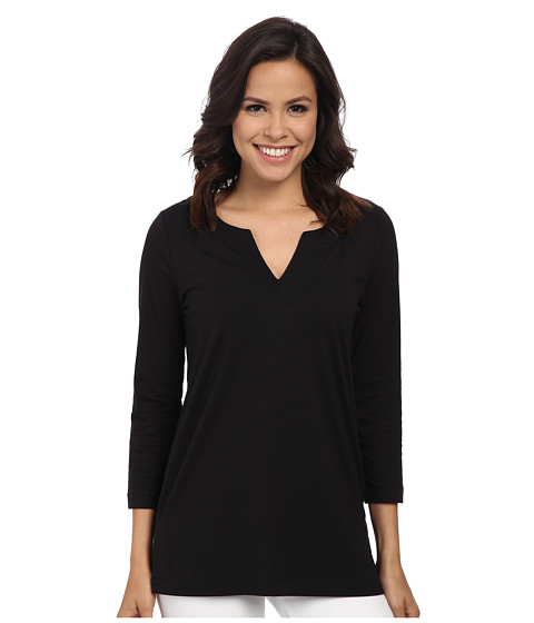 Anne Klein - Stitched V-Neck Tunic (Black) Women's Blouse