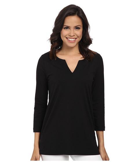 Anne Klein - Stitched V-Neck Tunic (Black) Women's Blouse