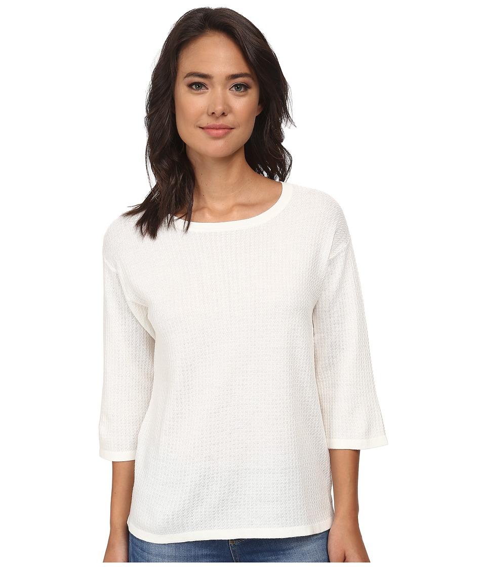 Anne Klein - 3/4 Sleeve Drop Shoulder Pullover (White) Women