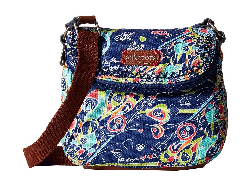 Sakroots - Artist Circle Mini Fold-Over Crossbody (Denim Songbird) Cross Body Handbags