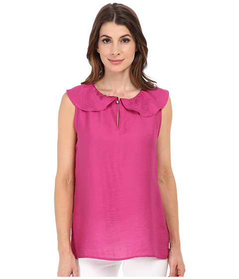 Anne Klein - Sleeveless Ruffle Collar Blouse (Fuchsia) Women
