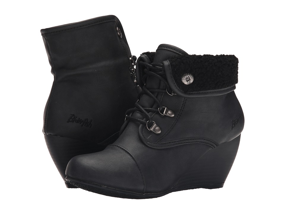 Blowfish - Beau (Black Texas PU/Black Faux Sheep) Women's Lace-up Boots