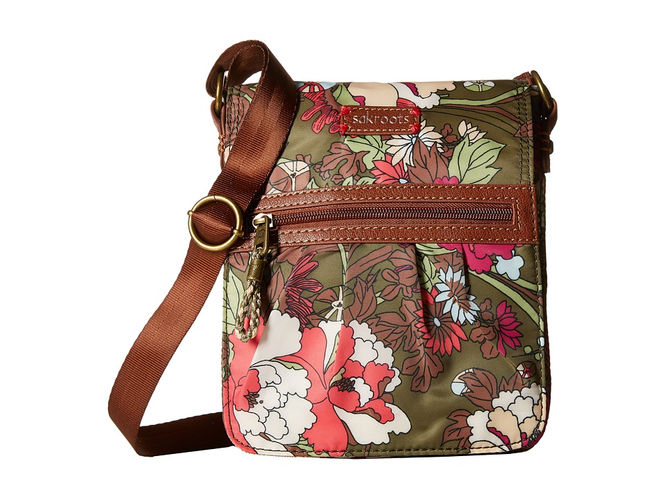 Sakroots - Artist Circle Utility Small Flap Messenger (Olive Flower Power) Messenger Bags