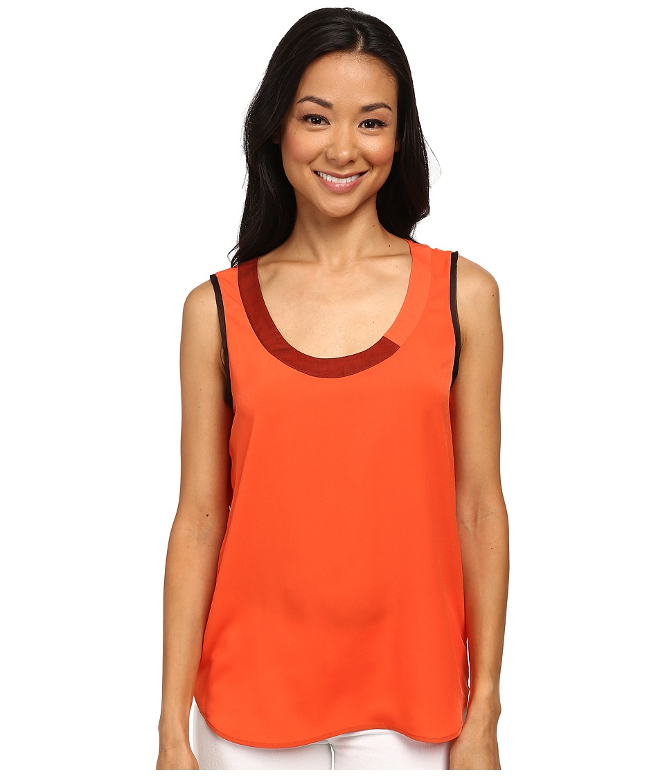 Anne Klein - Organza Trim Shell (Orange) Women's Clothing