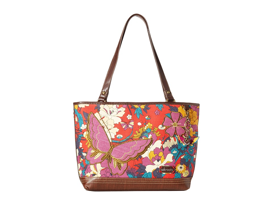 Sakroots - Artist Circle Critter Medium Satchel (Crimson Flower Power) Satchel Handbags