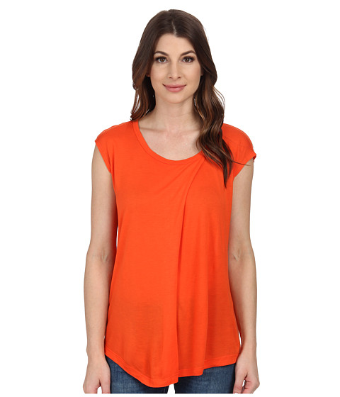 Anne Klein - Aysmmetric Short Sleeve Top (Orange) Women's Clothing