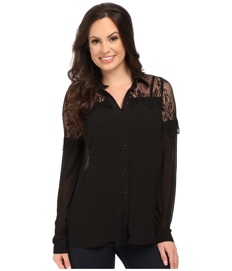 Roper - 0021 Solid Georgette Blouse (Black) Women's Blouse