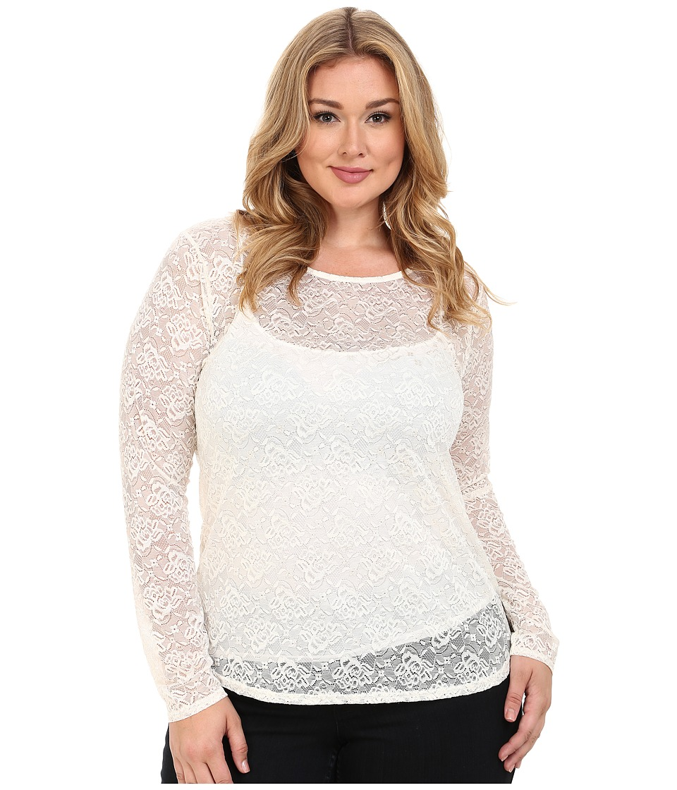 Roper - Plus Size 0065 Allover Stretch Lace Long Sleeve Top (White) Women's Long Sleeve Button Up