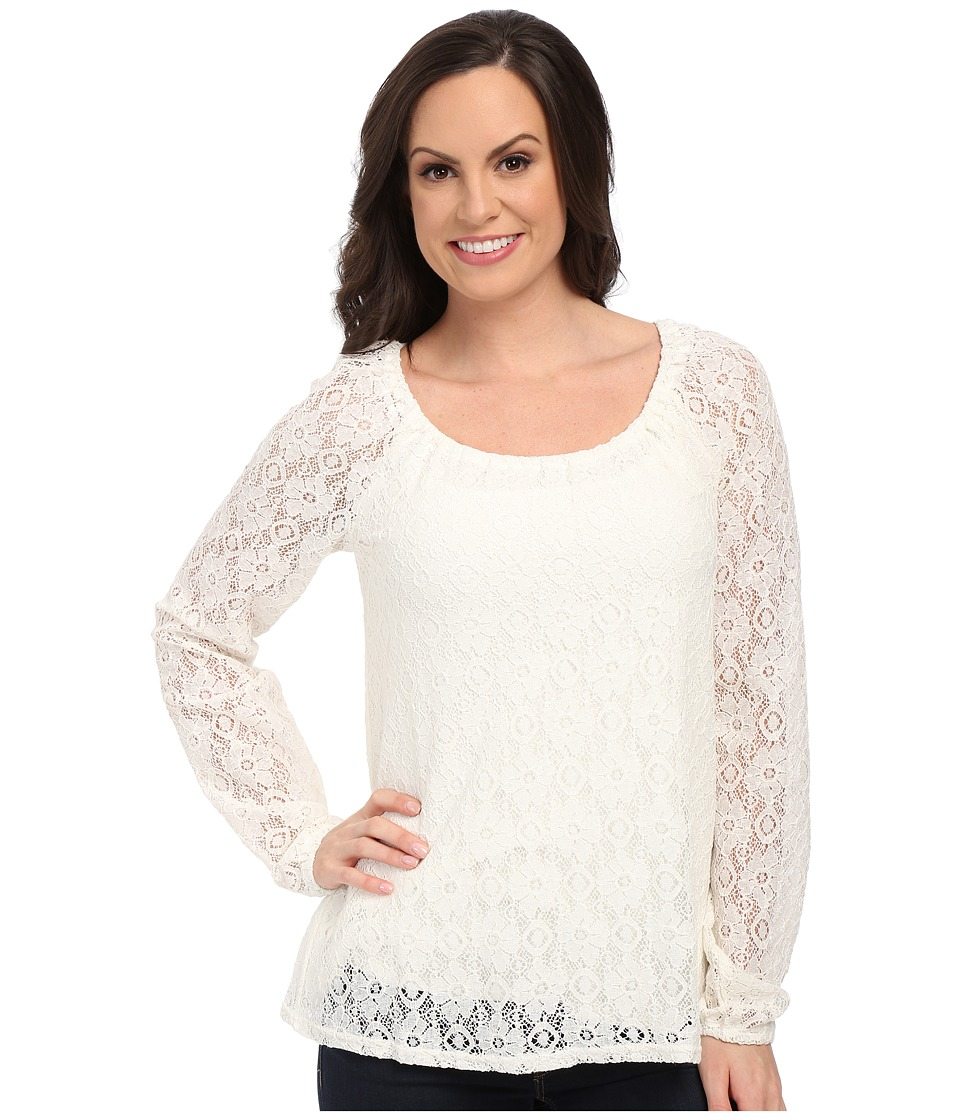 Roper - 0064 Allover Lace Peasant Blouse (White) Women's Blouse