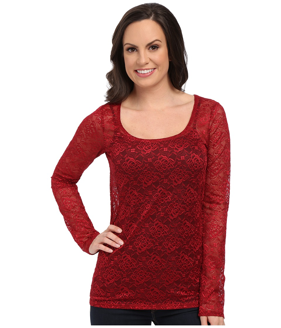 Roper - 0065 Allover Stretch Lace Top (Red) Women's Clothing