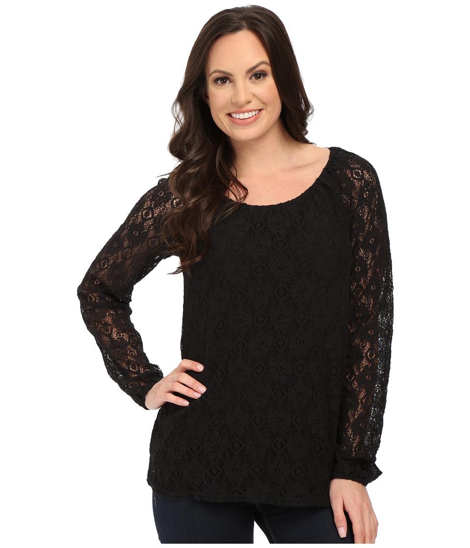 Roper - 0064 Allover Lace Peasant Blouse (Black) Women's Blouse